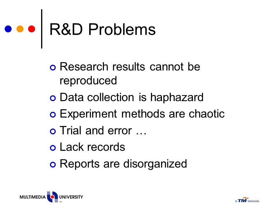 R&D Problems Research results cannot be reproduced