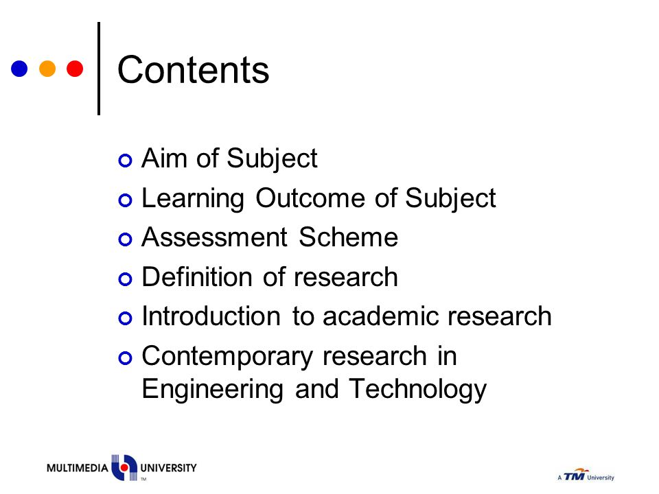 Contents Aim of Subject Learning Outcome of Subject Assessment Scheme