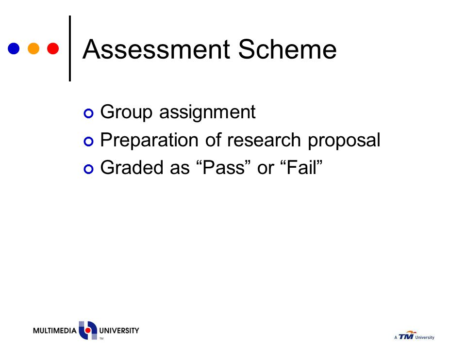 Assessment Scheme Group assignment Preparation of research proposal