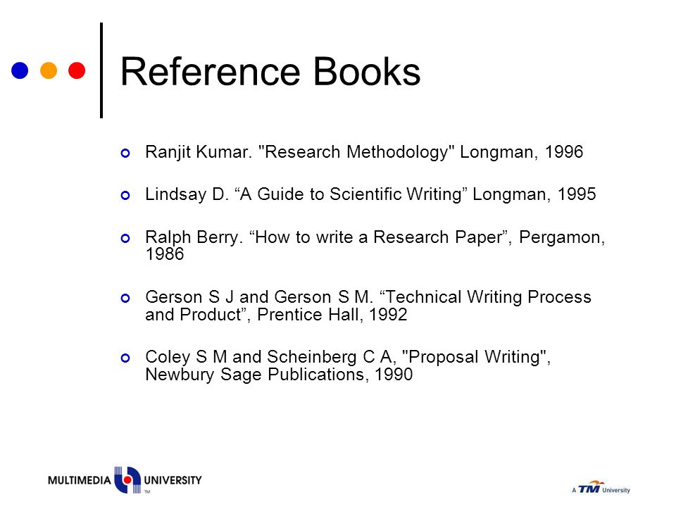 Reference Books Ranjit Kumar. Research Methodology Longman, 1996