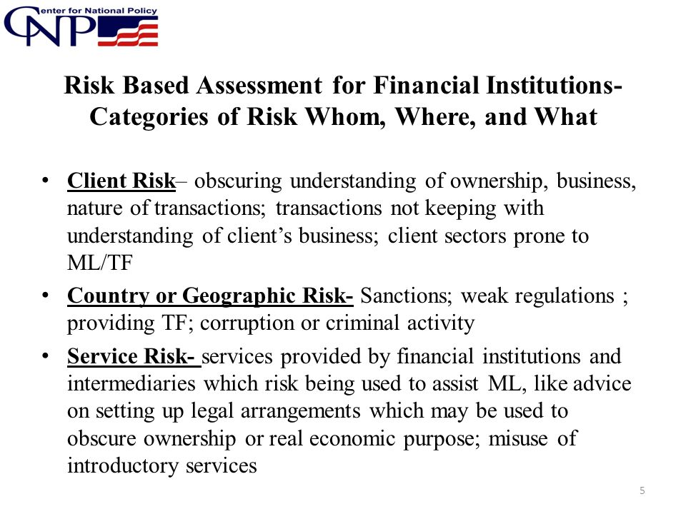 Risk Based Assessment for Financial Institutions-Categories of Risk Whom, Where, and What