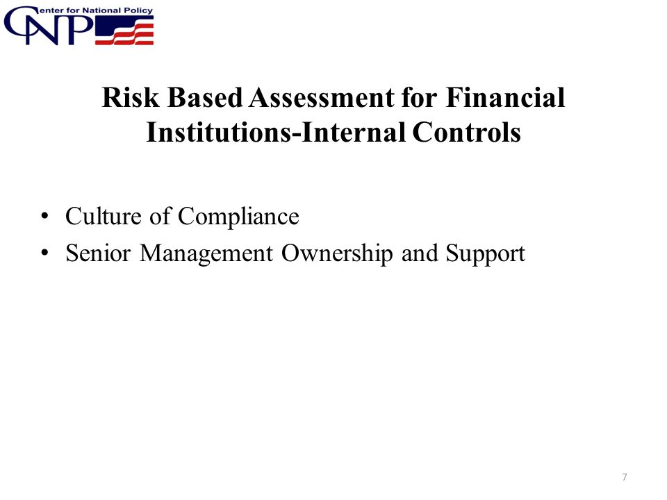 Risk Based Assessment for Financial Institutions-Internal Controls