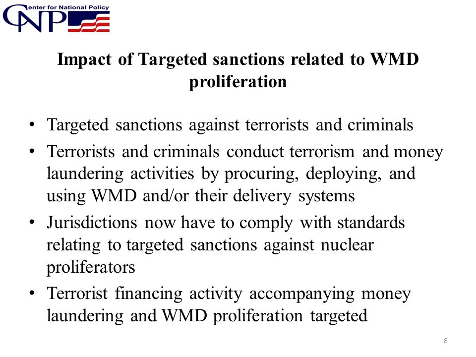 Impact of Targeted sanctions related to WMD proliferation