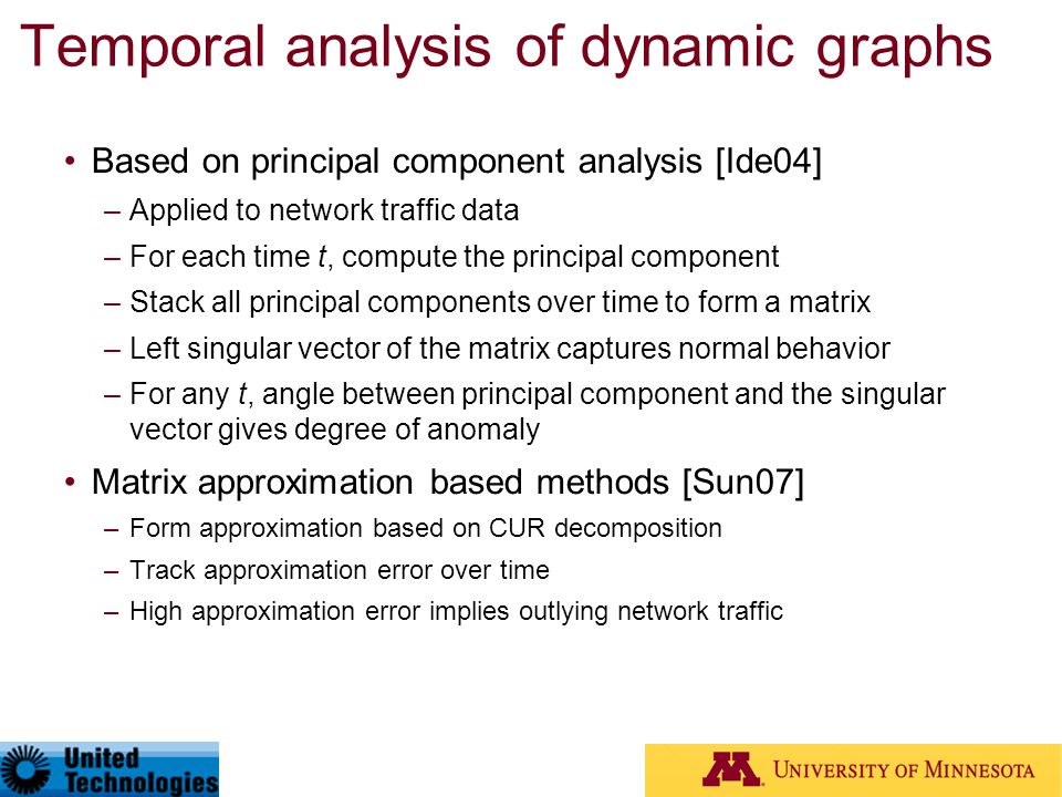 Temporal analysis of dynamic graphs