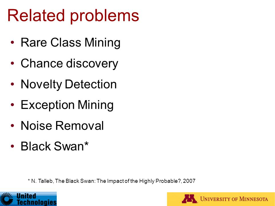 Related problems Rare Class Mining Chance discovery Novelty Detection