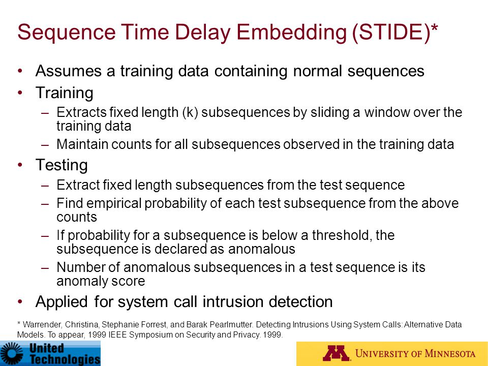 Sequence Time Delay Embedding (STIDE)*