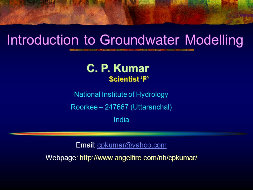 Introduction to Groundwater Modelling