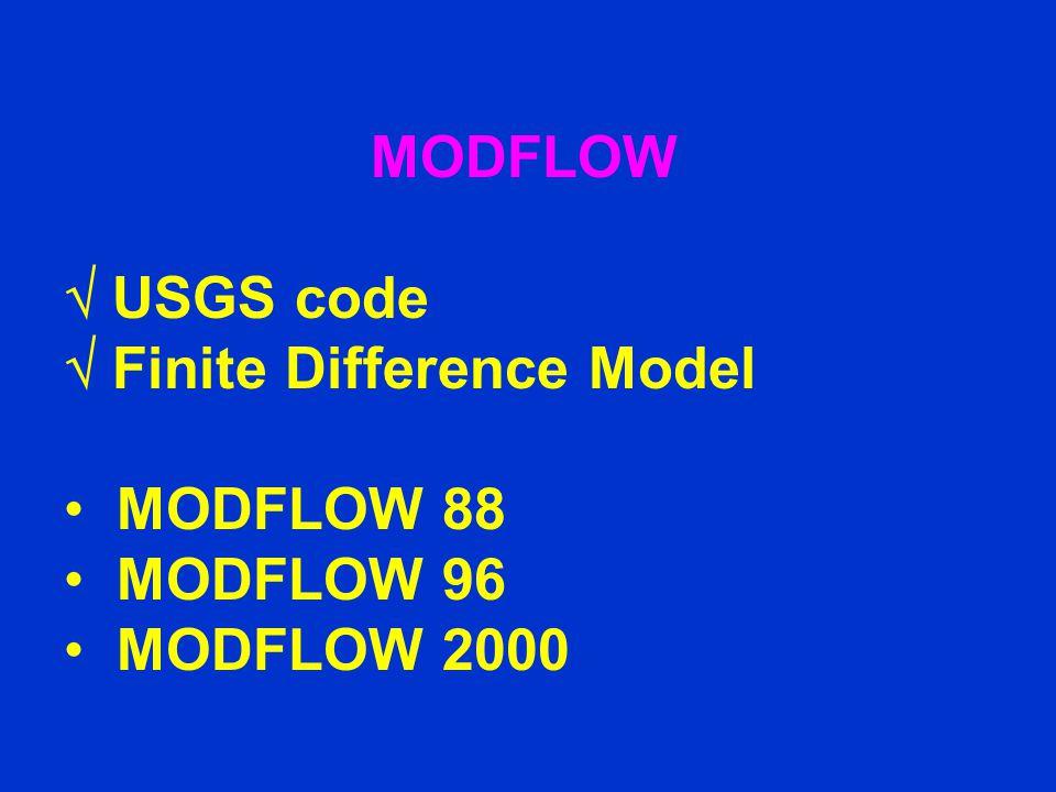 MODFLOW  USGS code  Finite Difference Model MODFLOW 88 MODFLOW 96 MODFLOW 2000