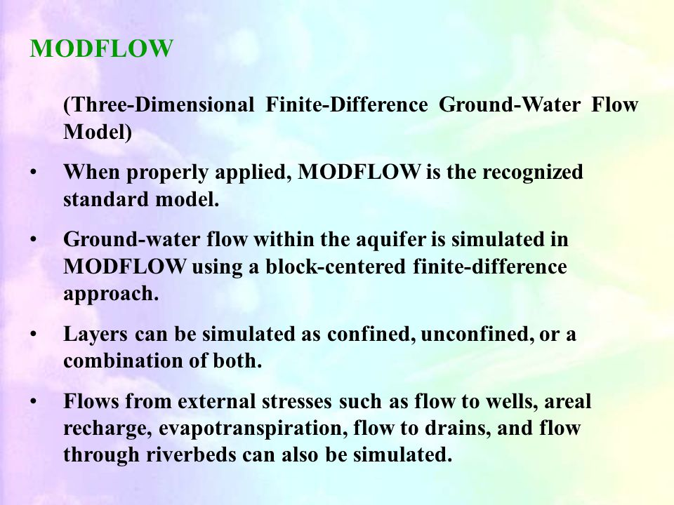MODFLOW (Three-Dimensional Finite-Difference Ground-Water Flow Model)