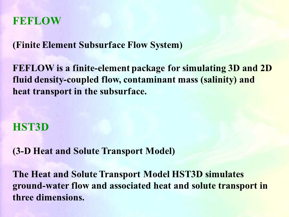 FEFLOW HST3D (Finite Element Subsurface Flow System)