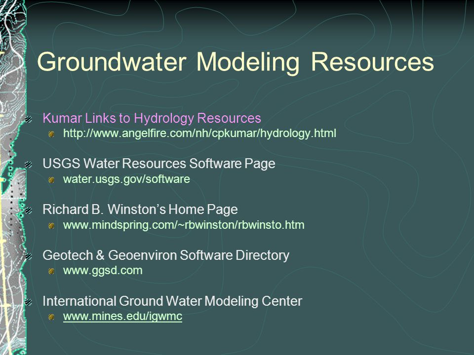 Groundwater Modeling Resources
