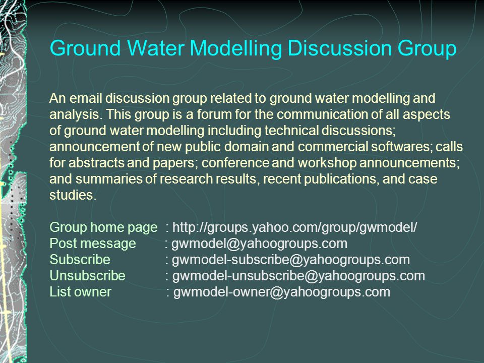 Ground Water Modelling Discussion Group