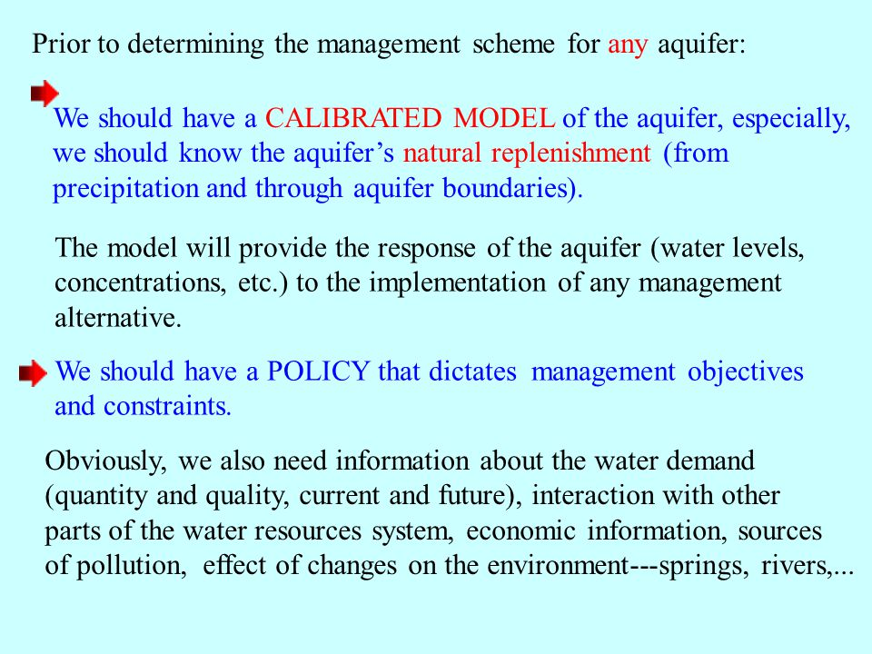 Prior to determining the management scheme for any aquifer: