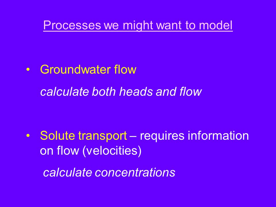 Processes we might want to model