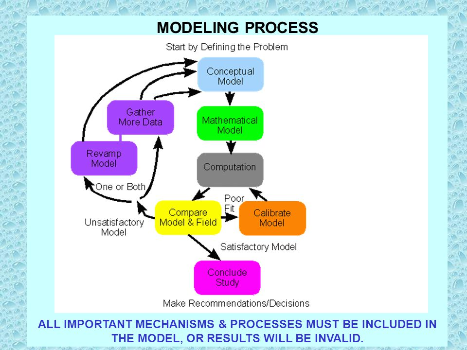 MODELING PROCESS ALL IMPORTANT MECHANISMS & PROCESSES MUST BE INCLUDED IN THE MODEL, OR RESULTS WILL BE INVALID.