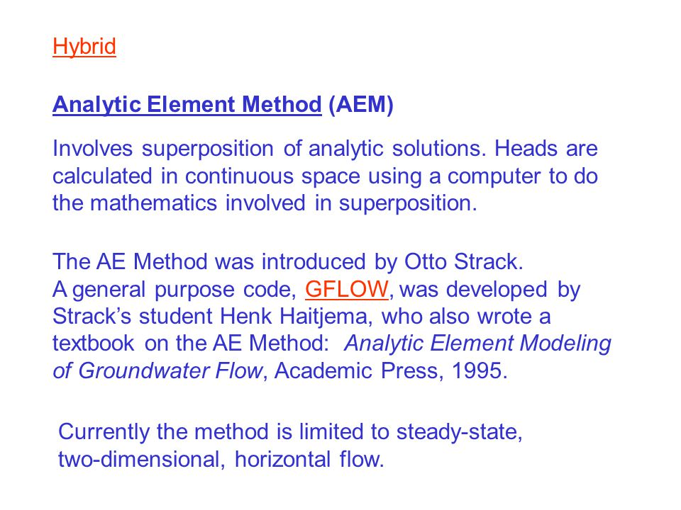 Hybrid Analytic Element Method (AEM)