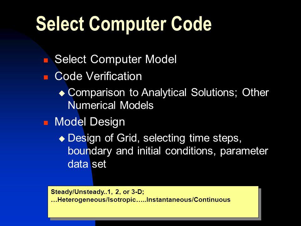 Select Computer Code Select Computer Model Code Verification