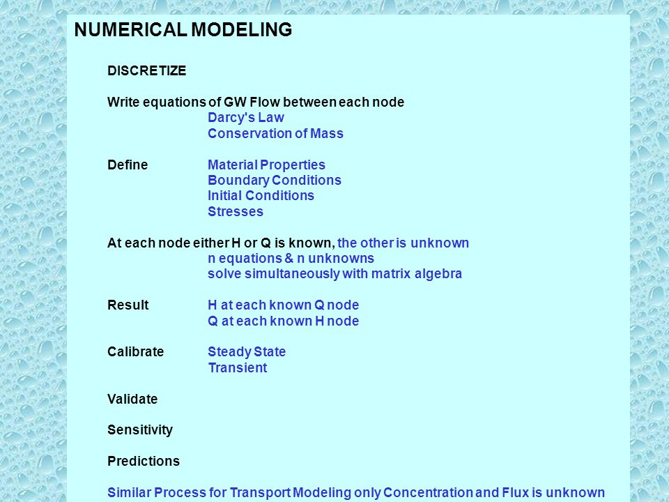NUMERICAL MODELING DISCRETIZE