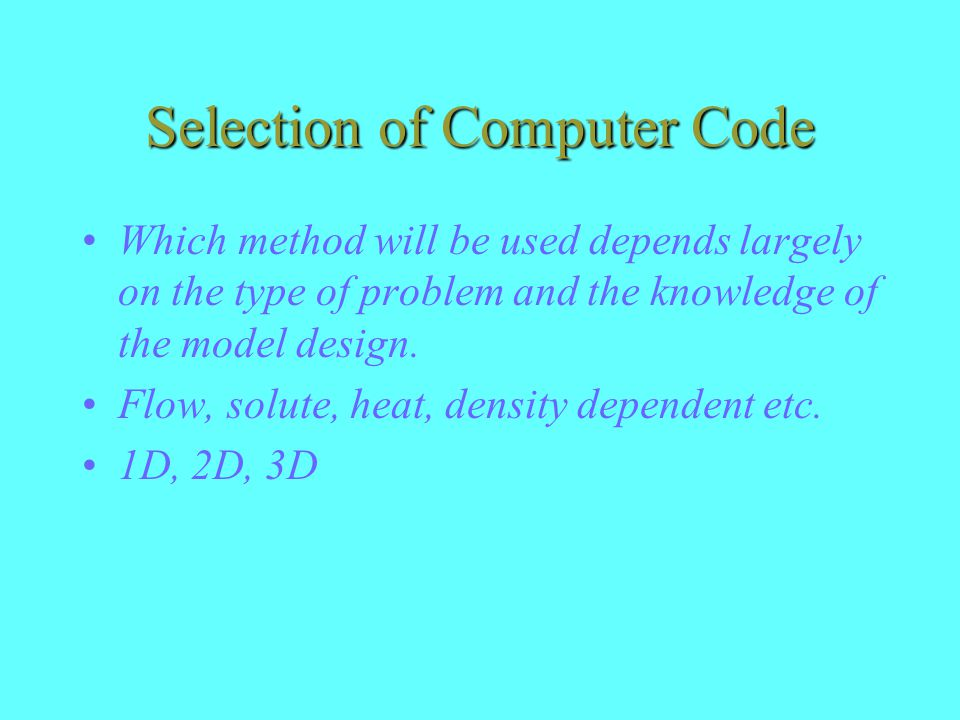 Selection of Computer Code