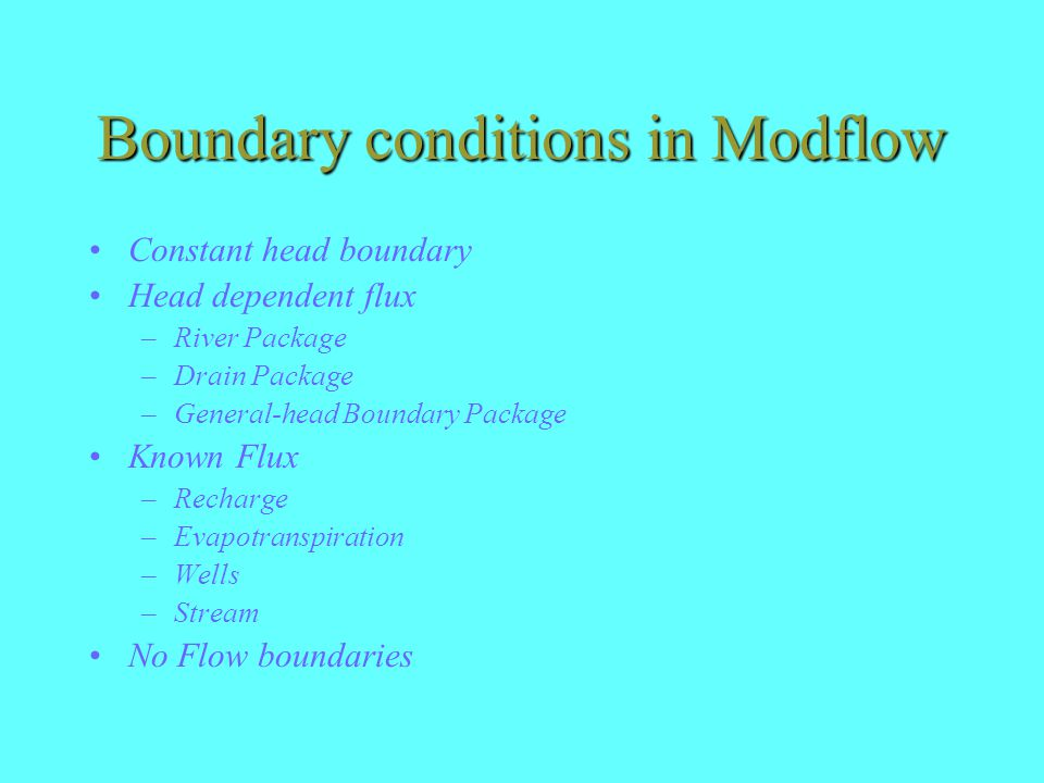 Boundary conditions in Modflow