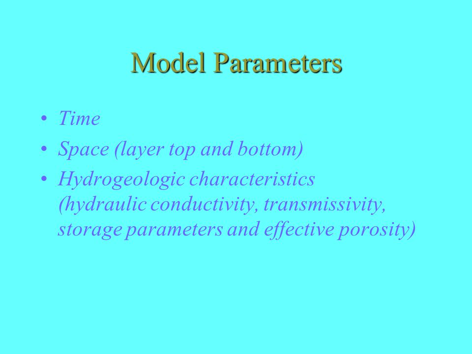 Model Parameters Time Space (layer top and bottom)