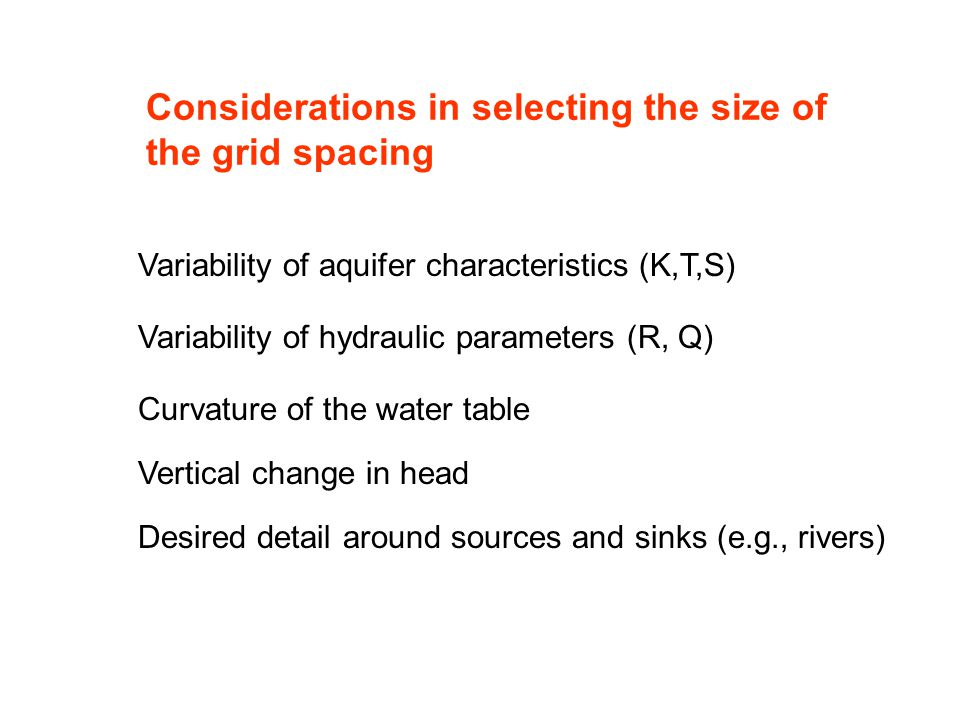 Considerations in selecting the size of the grid spacing