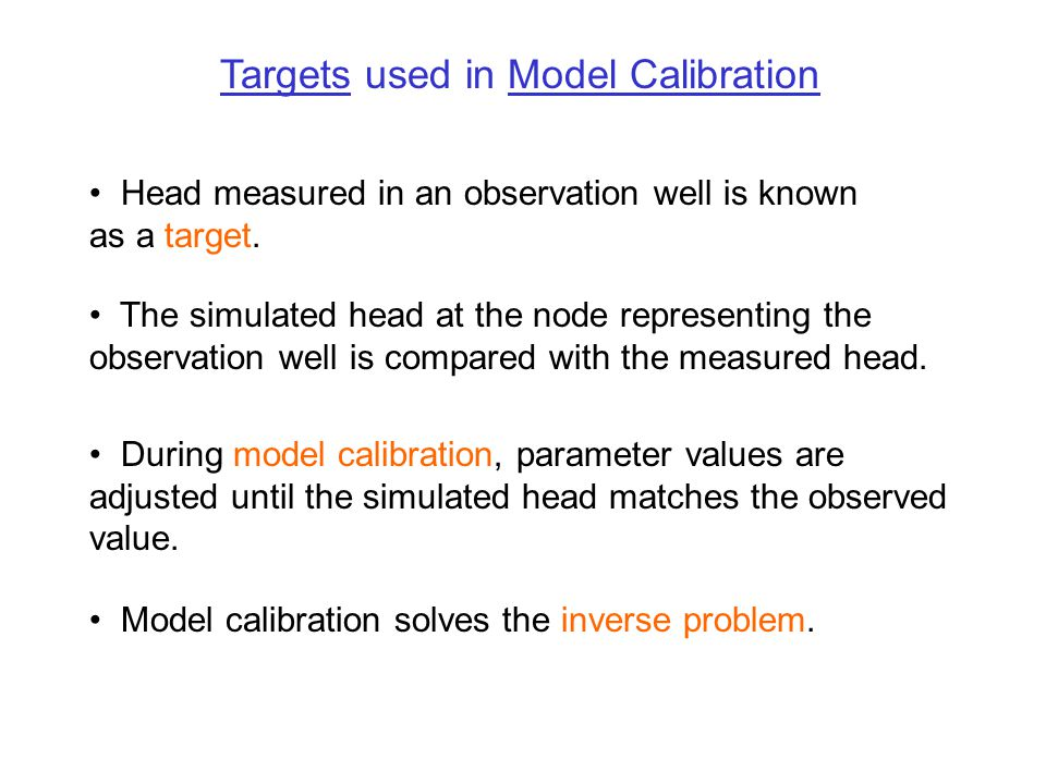 Targets used in Model Calibration