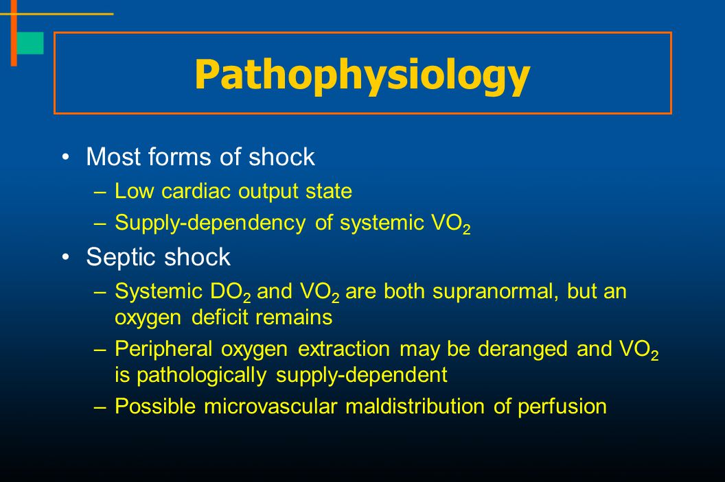 Pathophysiology Most forms of shock Septic shock