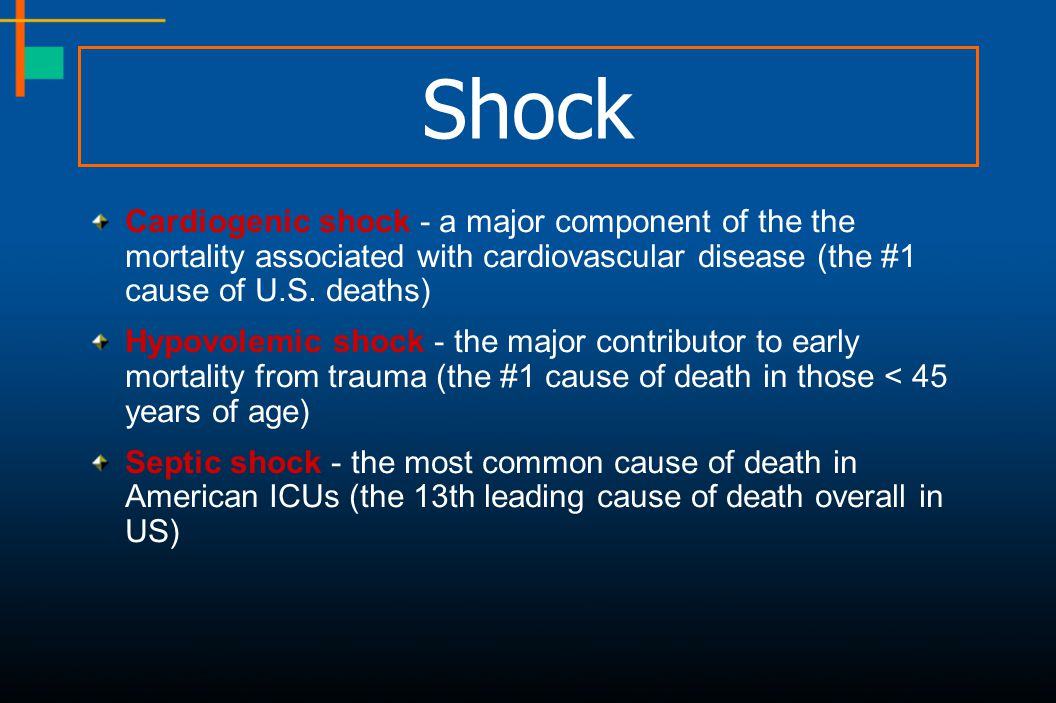 Shock Cardiogenic shock - a major component of the the mortality associated with cardiovascular disease (the #1 cause of U.S. deaths)
