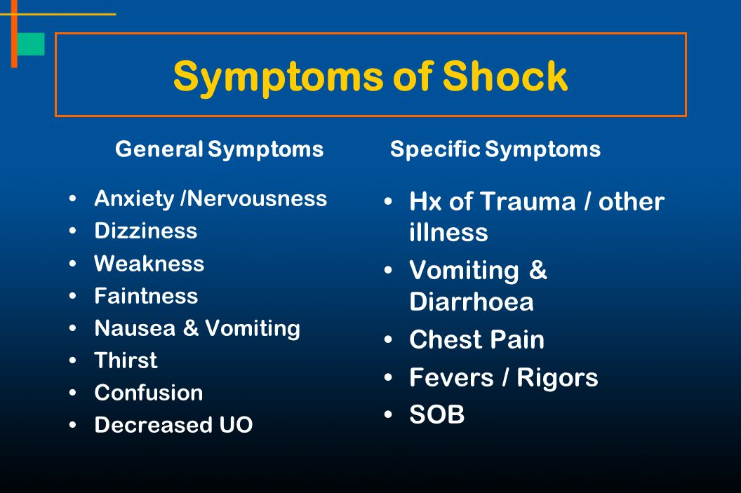 Symptoms of Shock Hx of Trauma / other illness Vomiting & Diarrhoea