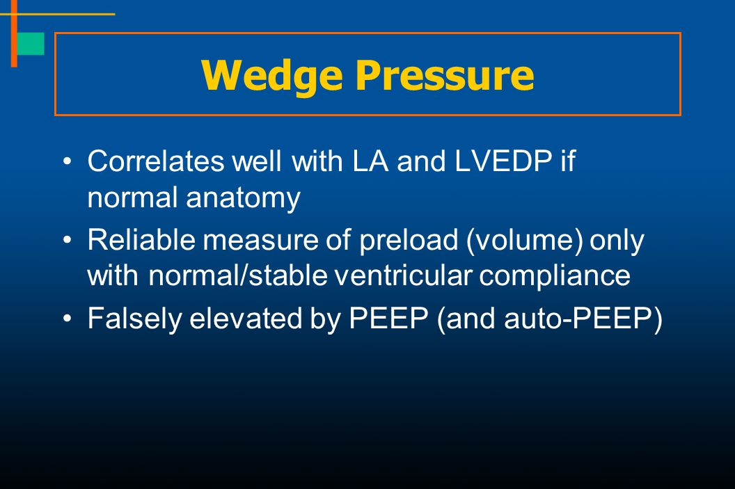 Wedge Pressure Correlates well with LA and LVEDP if normal anatomy