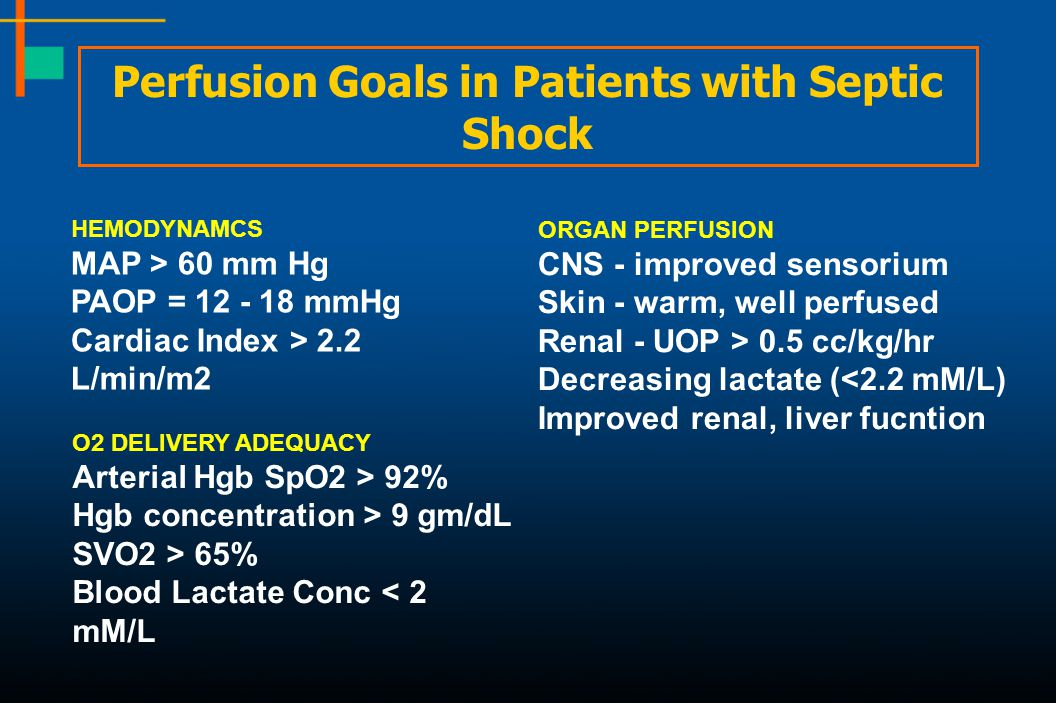 Perfusion Goals in Patients with Septic Shock