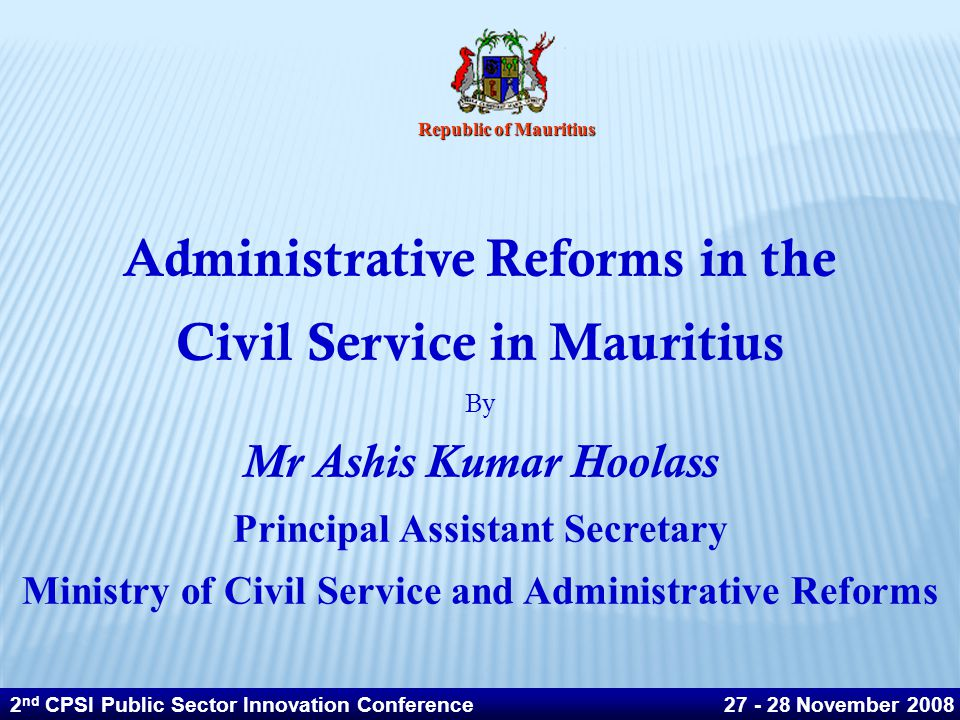 Administrative Reforms in the Civil Service in Mauritius