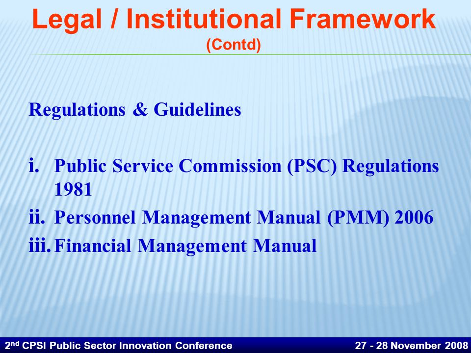 Legal / Institutional Framework