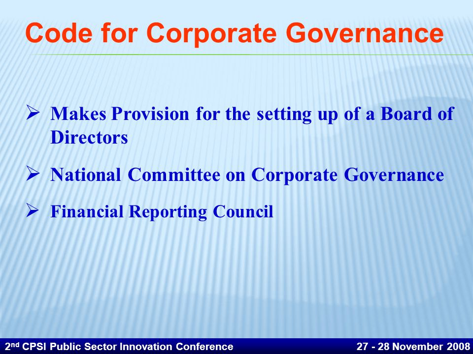 Code for Corporate Governance