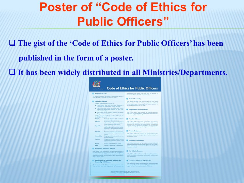 Poster of Code of Ethics for