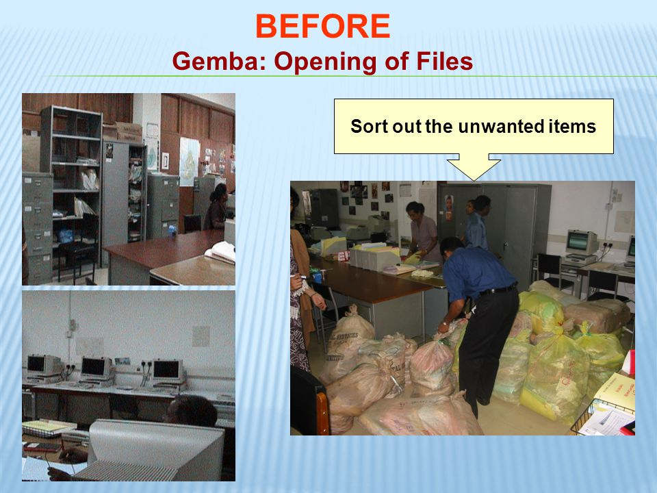 Gemba: Opening of Files Sort out the unwanted items
