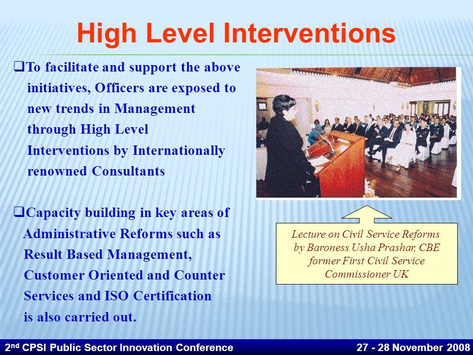 High Level Interventions