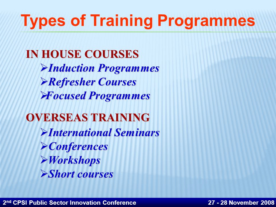 Types of Training Programmes