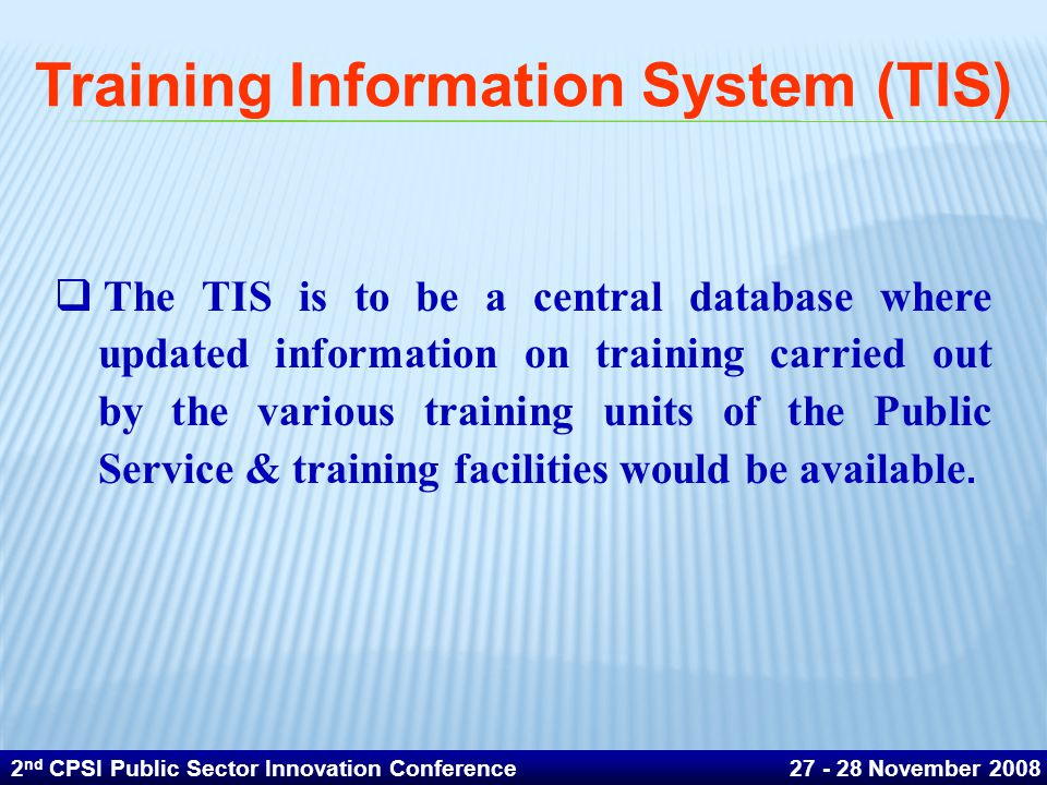 Training Information System (TIS)