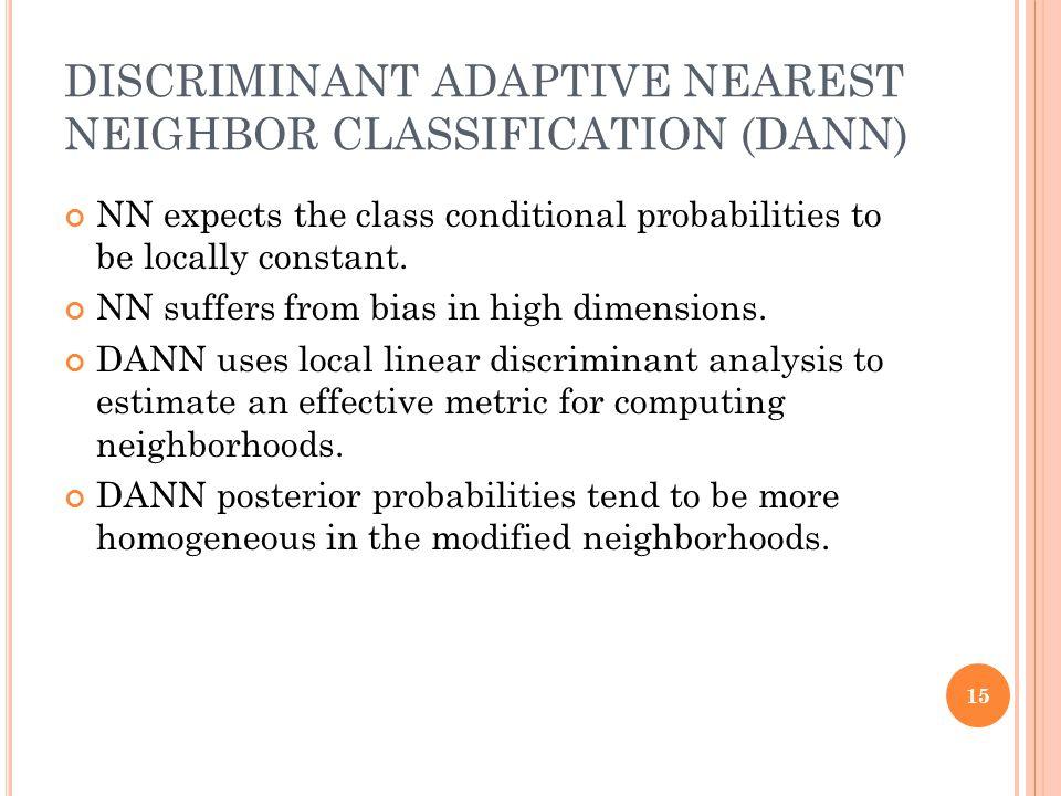 DISCRIMINANT ADAPTIVE NEAREST NEIGHBOR CLASSIFICATION (DANN)