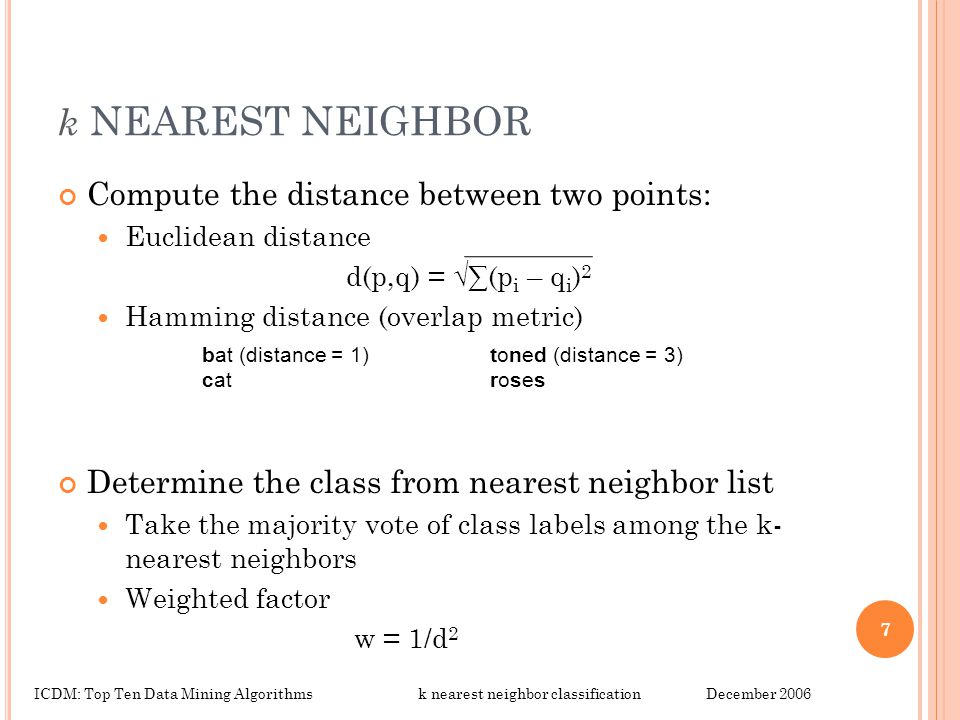 k NEAREST NEIGHBOR Compute the distance between two points: