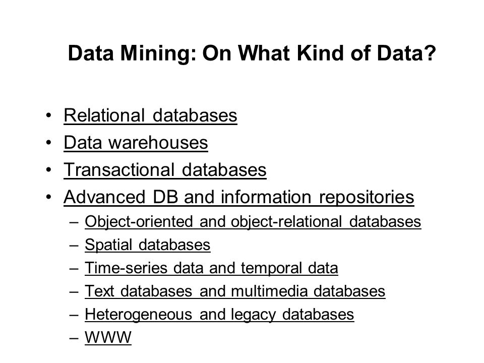 Data Mining: On What Kind of Data