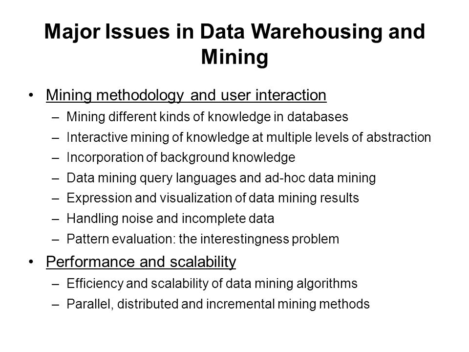 Major Issues in Data Warehousing and Mining