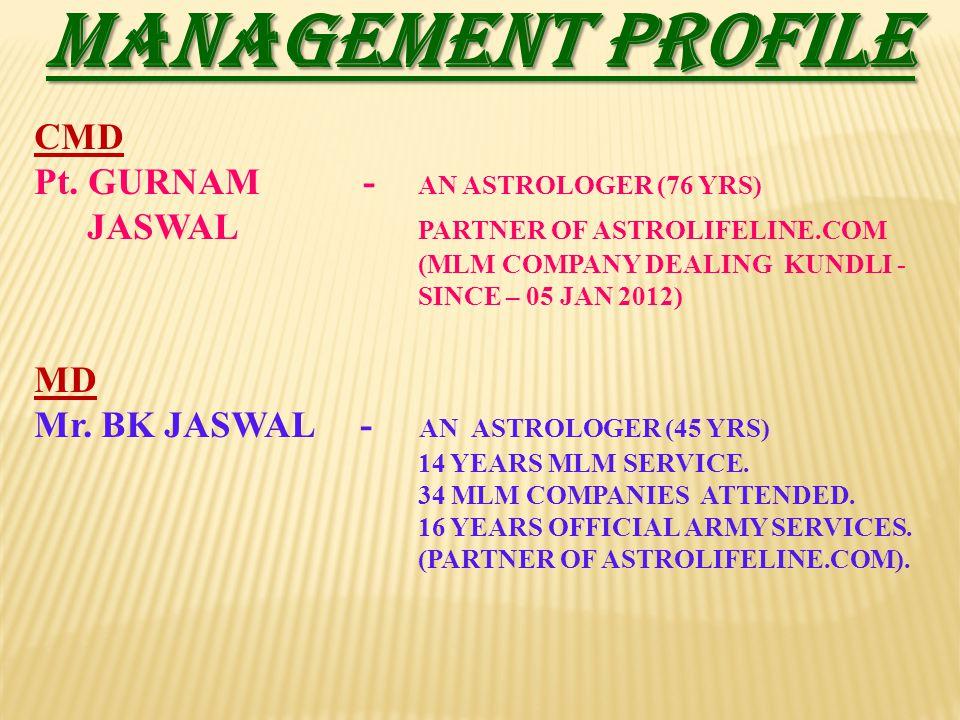 MANAGEMENT PROFILE CMD Pt. GURNAM - AN ASTROLOGER (76 YRS) MD