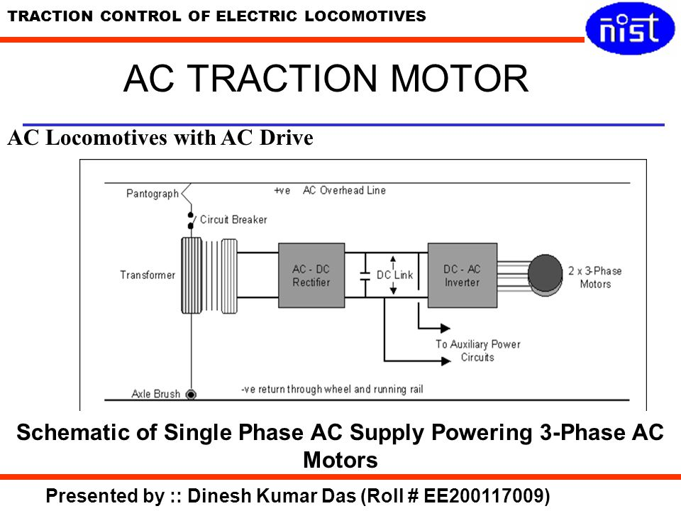 Schematic of Single Phase AC Supply Powering 3-Phase AC Motors