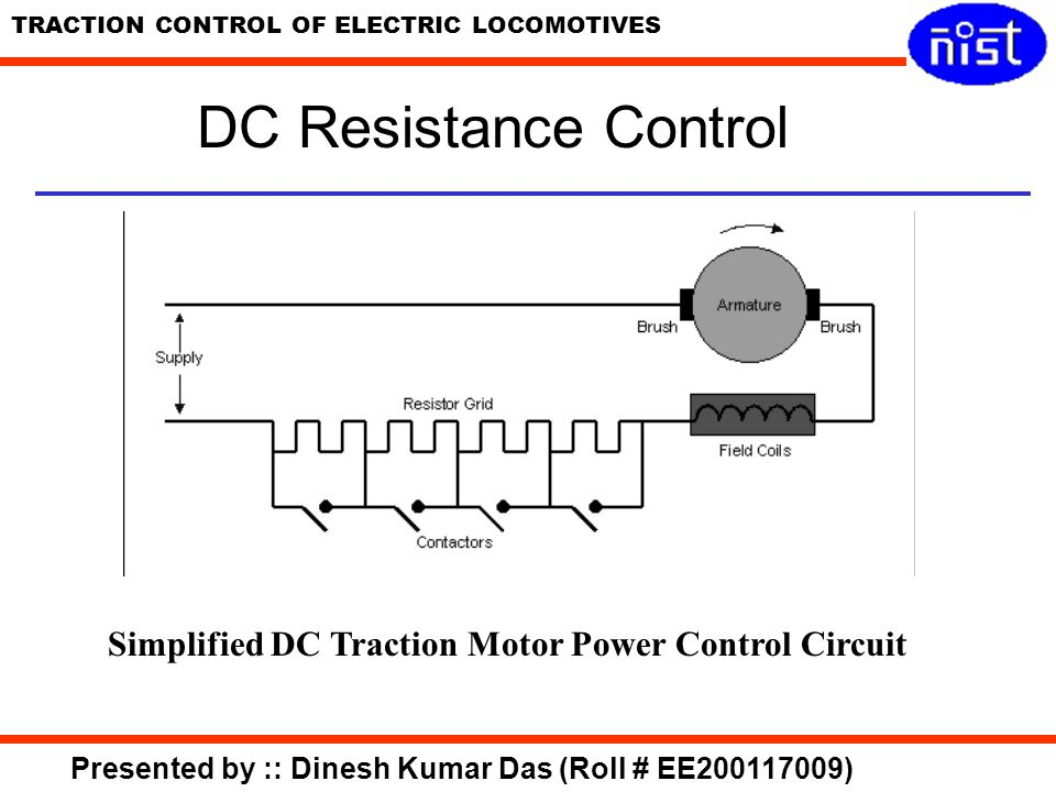 DC Resistance Control Simplified DC Traction Motor Power Control Circuit