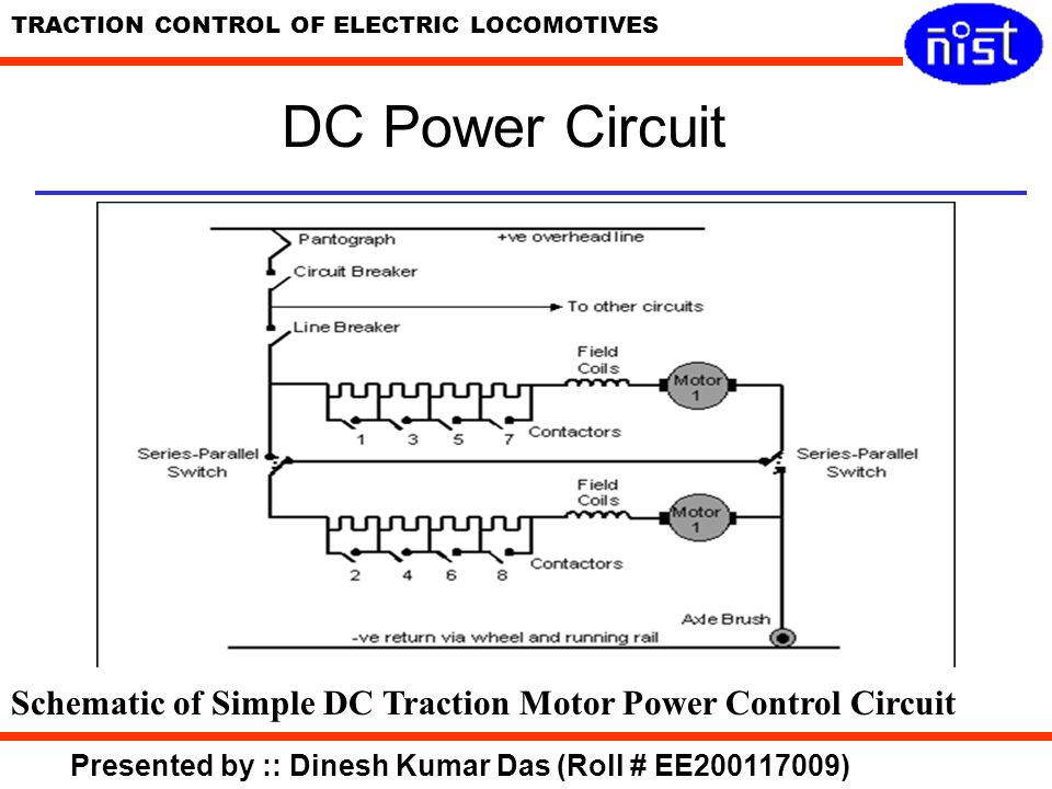 DC Power Circuit Schematic of Simple DC Traction Motor Power Control Circuit