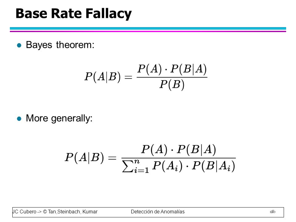Base Rate Fallacy Bayes theorem: More generally: