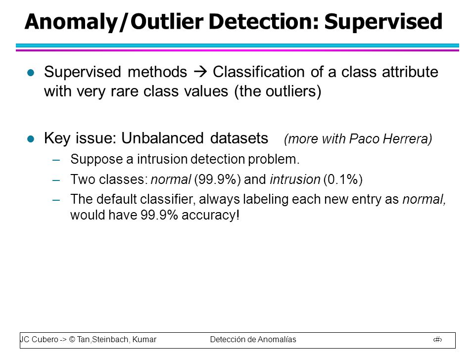 Anomaly/Outlier Detection: Supervised